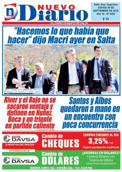 Tapa del 20/09/2018 Nuevo Diario de Salta