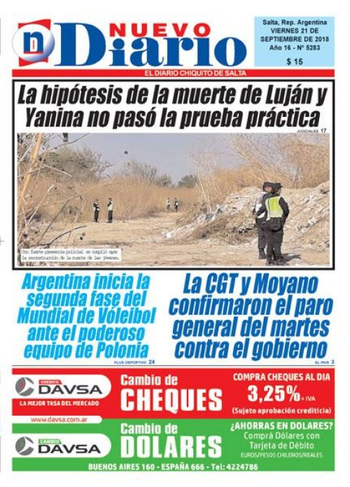 Tapa del 21/09/2018 Nuevo Diario de Salta