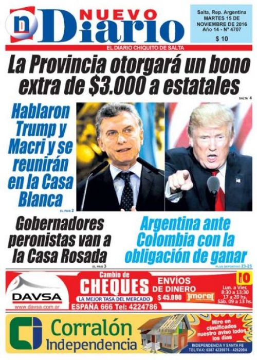 Tapa del 15/11/2016 Nuevo Diario de Salta