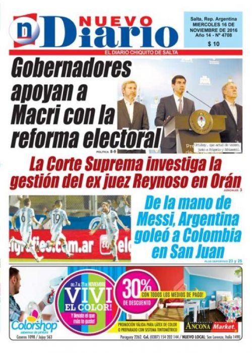 Tapa del 16/11/2016 Nuevo Diario de Salta
