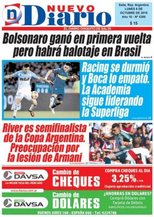 Tapa del 08/10/2018 Nuevo Diario de Salta