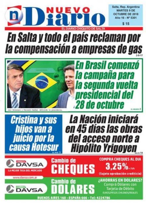 Tapa del 09/10/2018 Nuevo Diario de Salta