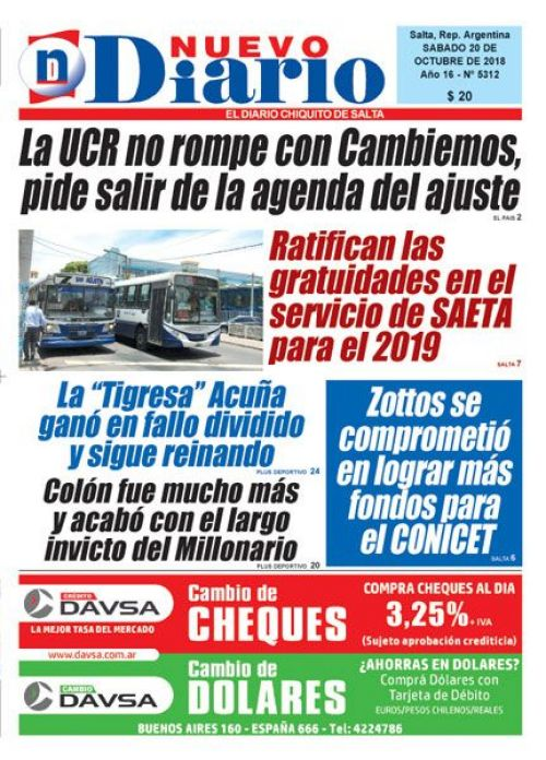 Tapa del 20/10/2018 Nuevo Diario de Salta