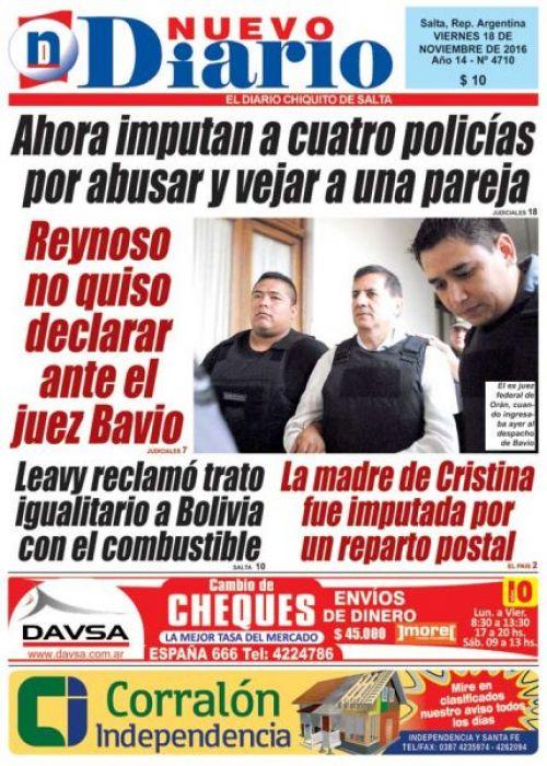 Tapa del 18/11/2016 Nuevo Diario de Salta