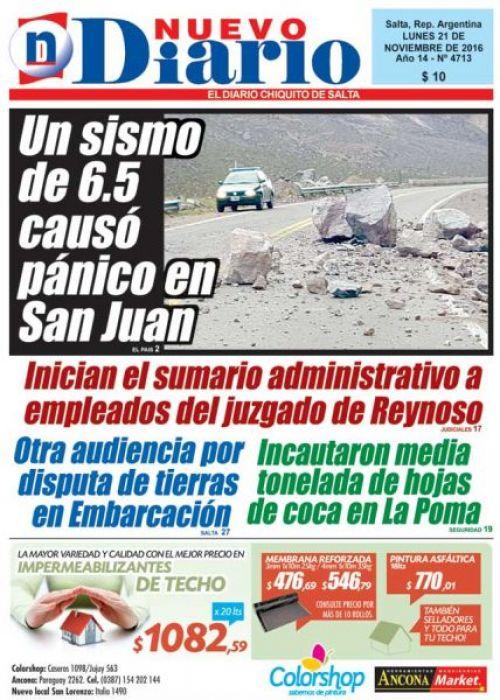 Tapa del 21/11/2016 Nuevo Diario de Salta