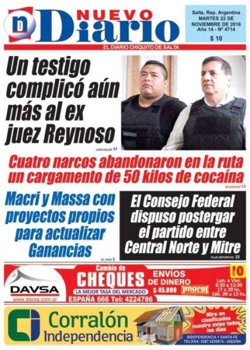 Tapa del 22/11/2016 Nuevo Diario de Salta