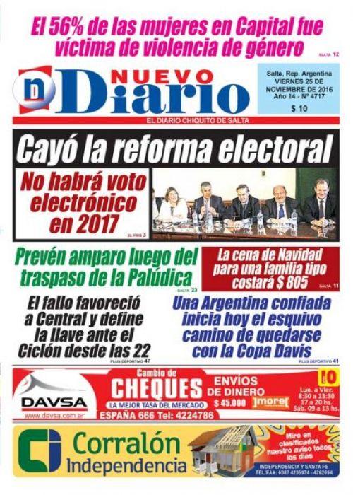 Tapa del 25/11/2016 Nuevo Diario de Salta
