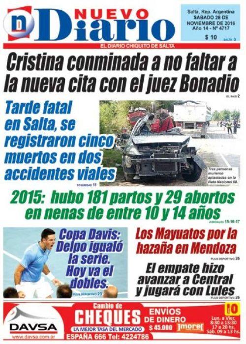Tapa del 26/11/2016 Nuevo Diario de Salta