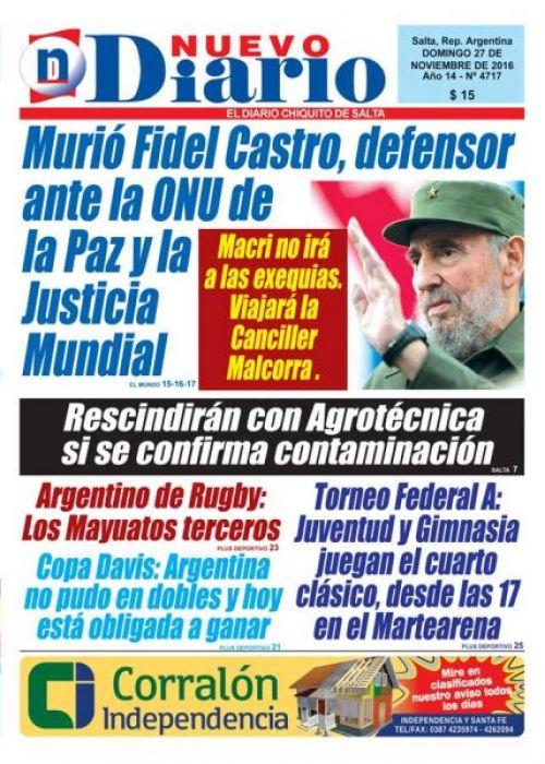 Tapa del 27/11/2016 Nuevo Diario de Salta
