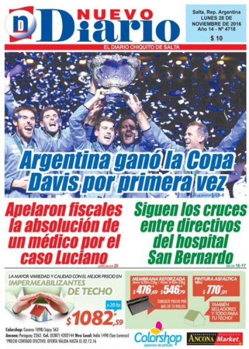 Tapa del 28/11/2016 Nuevo Diario de Salta