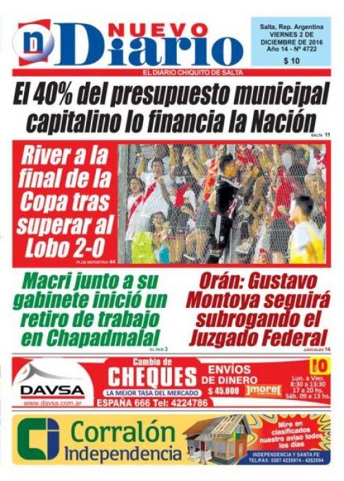 Tapa del 02/12/2016 Nuevo Diario de Salta