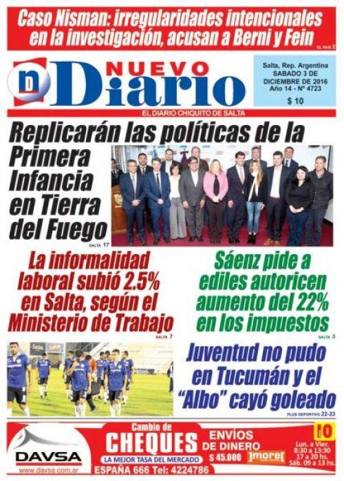Tapa del 03/12/2016 Nuevo Diario de Salta