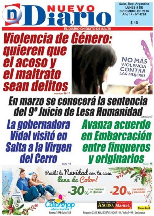 Tapa del 05/12/2016 Nuevo Diario de Salta