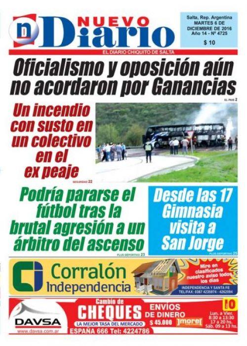 Tapa del 06/12/2016 Nuevo Diario de Salta