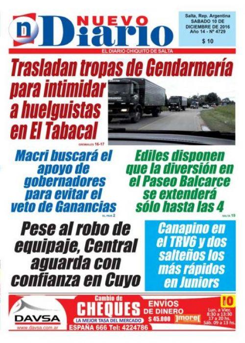 Tapa del 10/12/2016 Nuevo Diario de Salta