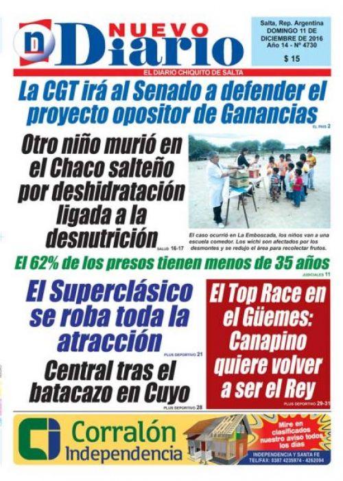 Tapa del 11/12/2016 Nuevo Diario de Salta