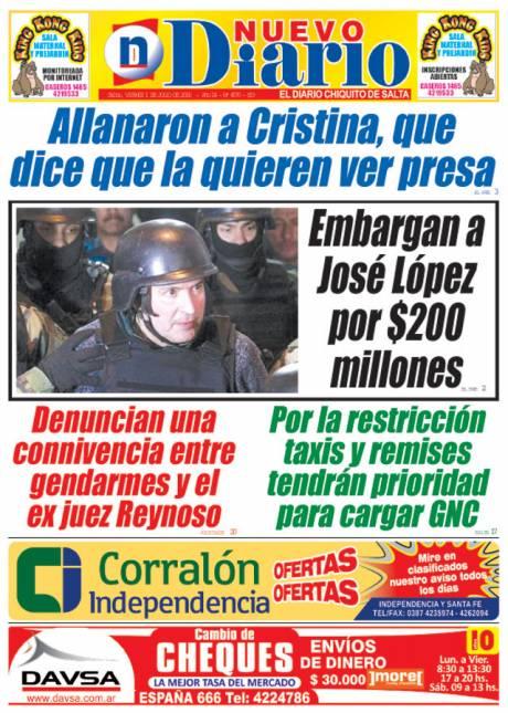 Tapa del 01/07/2016 Nuevo Diario de Salta