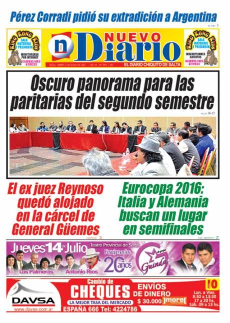 Tapa del 02/07/2016 Nuevo Diario de Salta