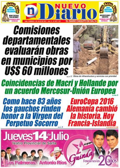 Tapa del 03/07/2016 Nuevo Diario de Salta