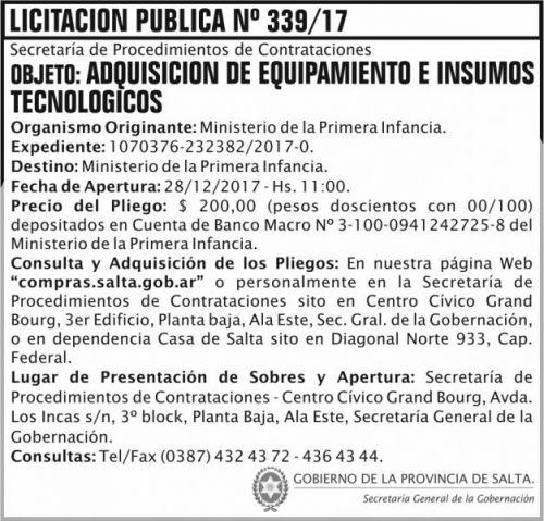 Licitación: Licitación Pública Nº 339