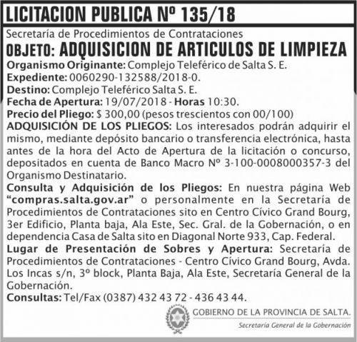 Licitación: Licitacion Publica 135 SGG CTS