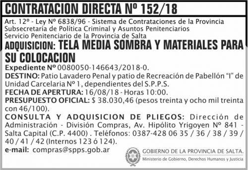 Licitación: Contratacion Directa 152 SPPS MDHJ