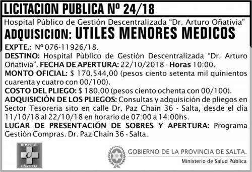 Licitación: Licitación Pública 24 MSP Oñativia 2x5 ND
