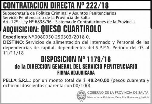 Licitación: Contratacion Directa Adjudicada 222 SPPS MDHJ 2x5