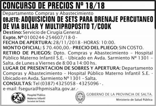 Licitación: Concurso de Precios 18 MSP HPMI 2x5