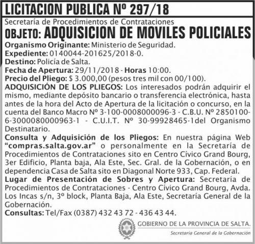Licitación: Licitacion Publica 297 SGG MS 2x7 ND