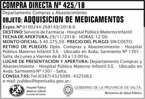 Licitación: Compra Directa 425 MSP HPMI 2x5 ND