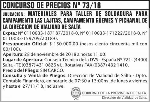 Licitación: Concurso de Precios 73 DVS 2x5 ND