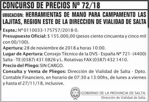Licitación: Concurso de Precios 72 DVS 2x5 ND