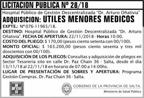 Licitación: Licitación Pública 28 MSP Oñativia 2x5 ND