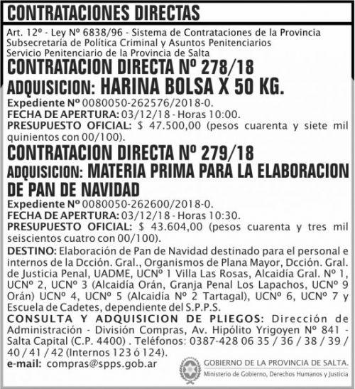 Licitación: Contratacion Directa 278 Y 279 SPPS MDHJ 2x9 ND