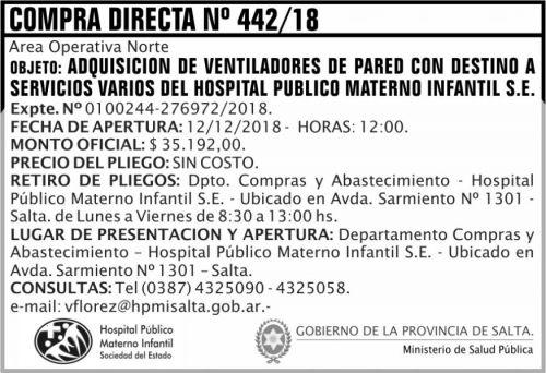 Licitación: Compra Directa 442 MSP HPMI 2x5 ND