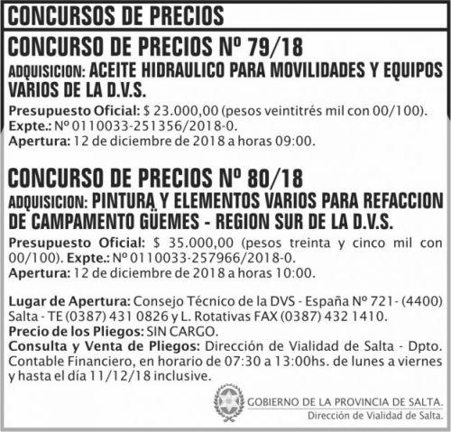 Concurso de Precios: Concurso de Precios 79 y 80 DVS 2x9 ND