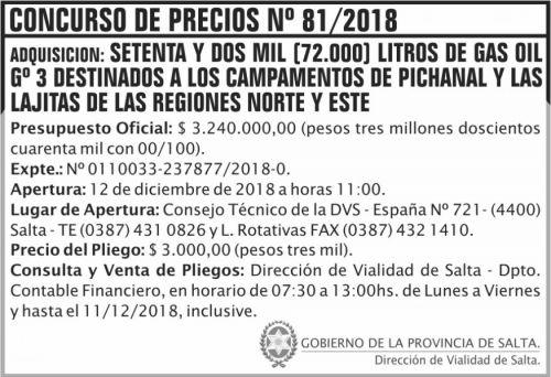 Concurso de Precios: Concurso de Precios 81 DVS 2x7 ND