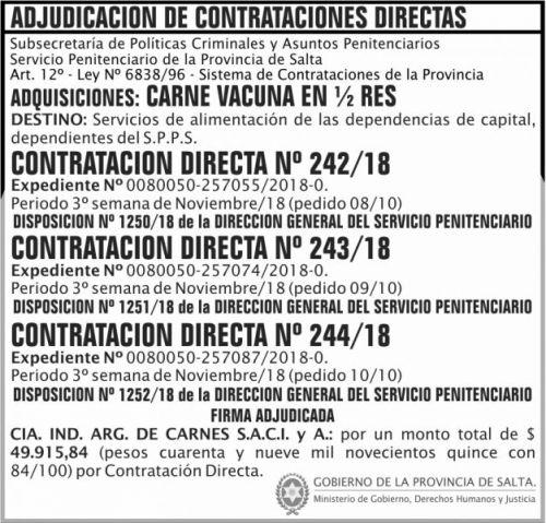Licitación: Contratacion Directa Adjudicada 242 a 244 SPPS MGDHJ 2x7 ND
