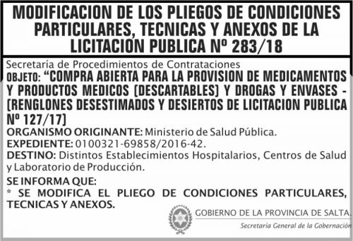 Licitación: Licitacion Publica 283 MODIFICACION DE PLIEGOS SGG MSP 2x5