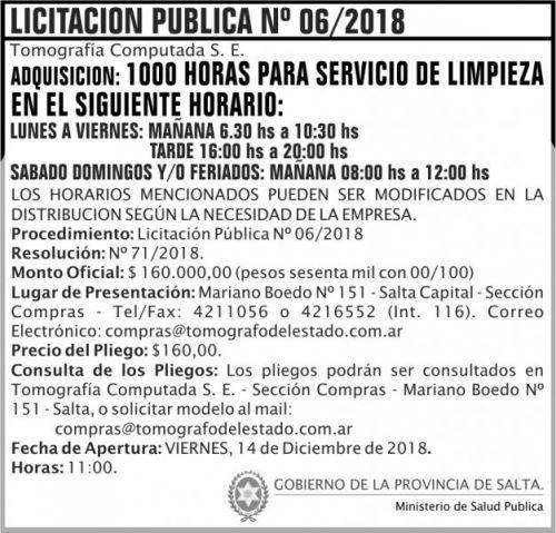 Licitación: Licitacion Publica 06 TCSE MSP 2x7 ND