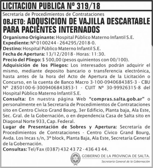 Licitación: Licitacion Publica 319 SGG HPMI 2x8