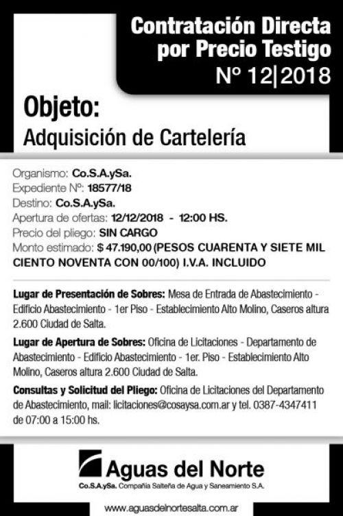 Edictos / Comunicados: AGUAS DEL NORTE 2X11