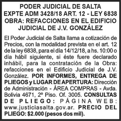 Licitación: PODER JUDICIAL EXPTE 3428-18 2X7.