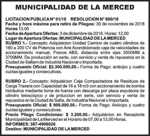 Licitación: MUNICIPALIDAD DE LA MERCED