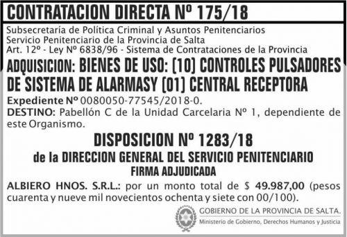 Licitación: Contratacion Directa Adjudicada 175 SPPS MDHJ 2x5
