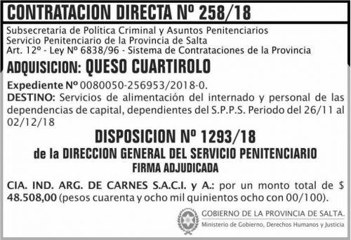 Licitación: Contratacion Directa Adjudicada 258 SPPS MDHJ 2x5