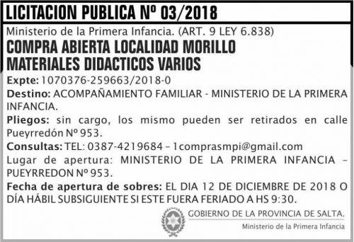 Licitación: Licitacion Publica 03 MPI 2x5 ND