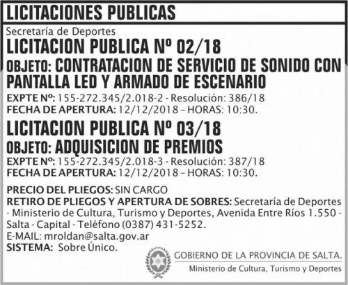 Licitación: Licitacion Publica 02 y 03 SD MCTD 2x6 ND