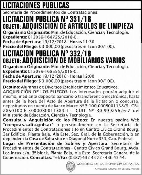 Licitación: Licitacion Publica 331 y 332 SGG MECT 2x9 ND